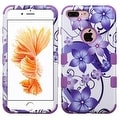 Insten Purple/ White Hibiscus Flower Romance Tuff Hard PC/ Silicone Dual Layer Hybrid Case Cover For Apple iPhone 7 Plus - Thumbnail 0