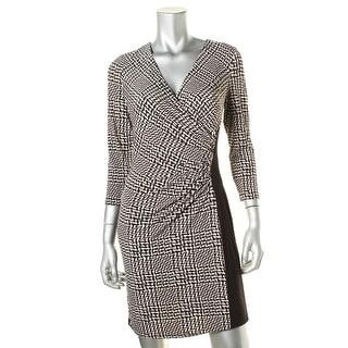 Lauren Ralph Lauren Womens Petites Gathered Surplice Wear to Work Dress - 6P