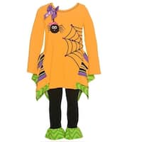 Bonnie Jean Baby Girls Orange Spider Print Halloween 2 Pc Pant Set