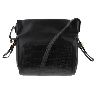 Kenneth Cole Reaction Womens The Stringer Lined Crossbody Handbag - Black - Medium
