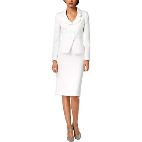 Le Suit Womens Skirt Suit Petal-Lapel Professional - 4
