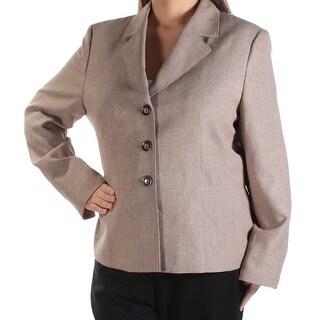 LE SUIT Womens New 1178 Brown Blazer Wear To Work Jacket 18 B+B