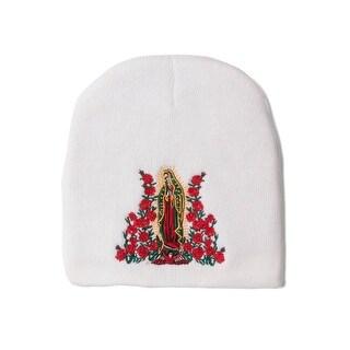 Virgin Mary White Cuffless Winter Beanie