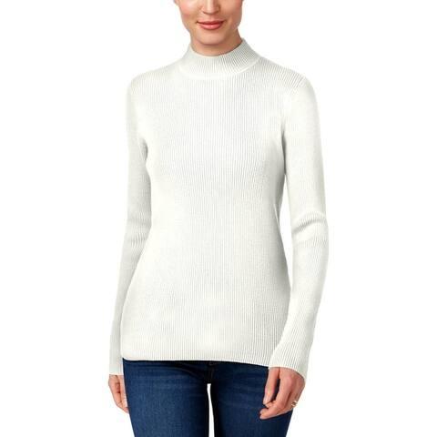 Karen Scott Womens Petites Pullover Sweater Ribbed Mock Neck