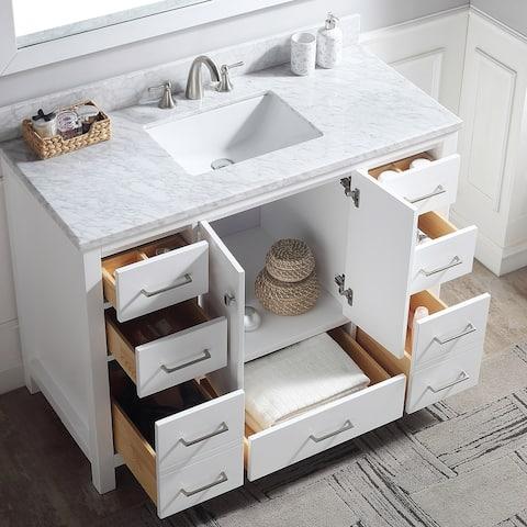 Proox 48 in.Single Square Sink Bathroom Marble Top Vanity w/ Blacksplash