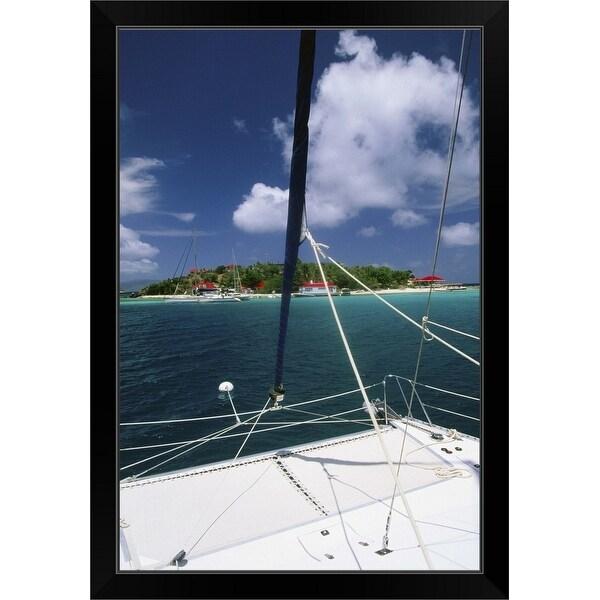 """Catamaran moored off island"" Black Framed Print"