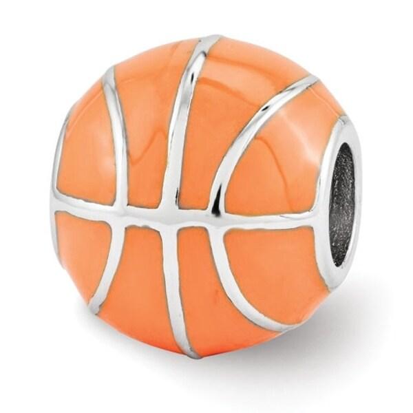 Sterling Silver Reflections Orange Enameled Basketball Bead (4mm Diameter Hole)