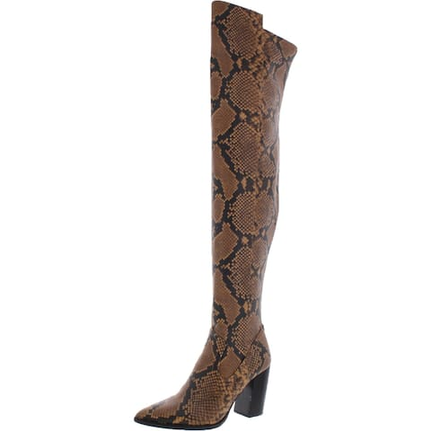 Vince Camuto Womens Cottara Thigh-High Boots Snake Print Pointed Toe