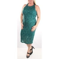 Womens Green Sleeveless Midi Sheath Party Dress Size: 13