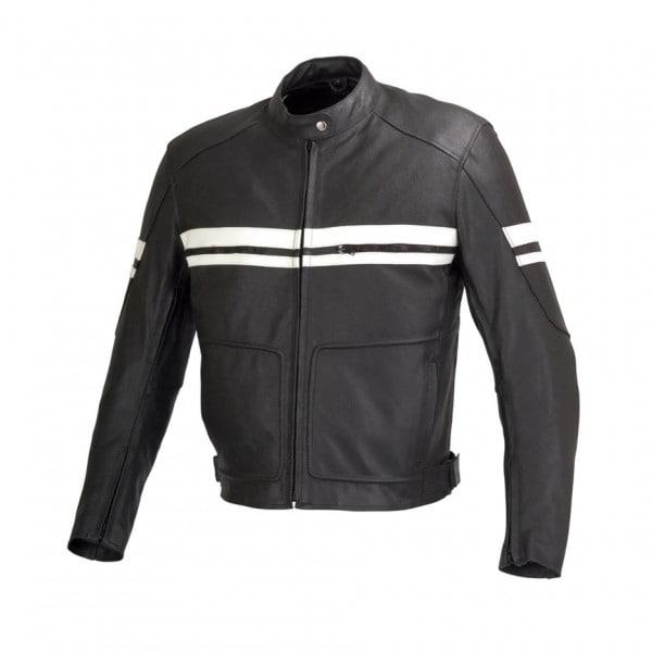 Men Motorcycle Biker Leather Jacket Five Piece Removable CE Armor Black MBJ010