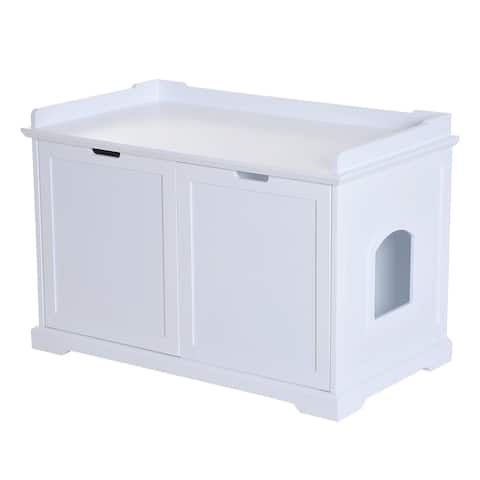 """PawHut 37.5"""" Wooden Covered Mess Free Cat Litter Box End Table Hideaway Cabinet With Storage, White"""