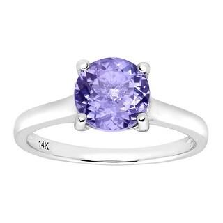 2 3/8 ct Natural Tanzanite Ring with Diamonds in 14K White Gold - Purple