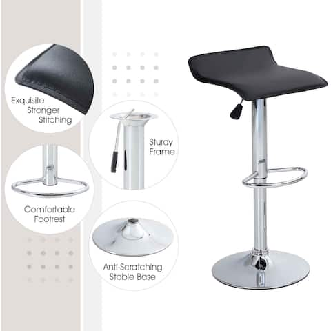 Bar Stool Square Set of 2 Swivel Adjustable Bar Height Chairs Water Resistant PU Leather
