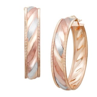 Just Gold Swirl Stripe Earrings in 14K Three-Tone Gold - tri-color