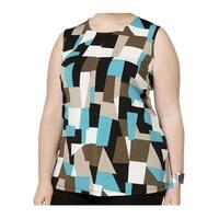 Kasper Blue Geo-Print Women's Size 1X Plus Tank Crewneck Blouse