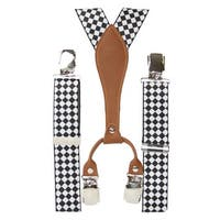 Nice Checkered Suspenders, Black & White - One Size