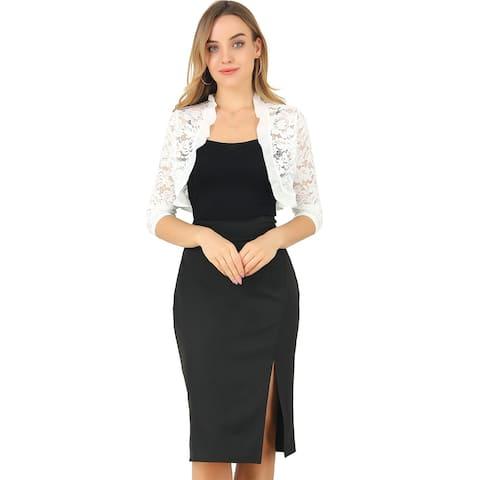 Women Ruffle Neck Lace Open Front Sleeve Crop Shrug