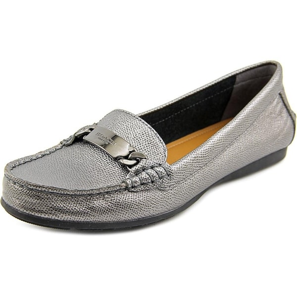 Coach Olive Women Moc Toe Leather Gray Loafer