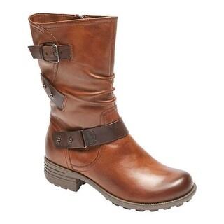 Rockport Women's Cobb Hill Brunswick Mid Calf Boot Almond Leather