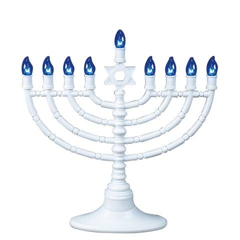 """11.5"""" White and Blue Traditional Style LED Battery Powered Chanukah Menorah - N/A"""