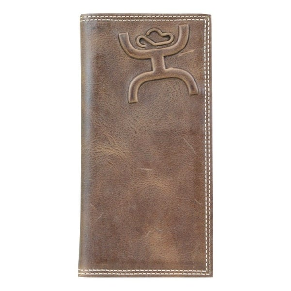 HOOey Western Wallet Mens Tooled Logo Rodeo Distressed Brown - 3 1/2'' x 3/4'' x 7''