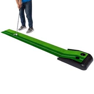 Costway 8FT Golf Practice Putting Mat Training Green Grass Turf Ball Return In/Outdoor