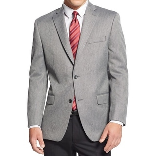 MICHAEL Michael Kors Mens Two-Button Suit Jacket Herringbone Notch Lapel