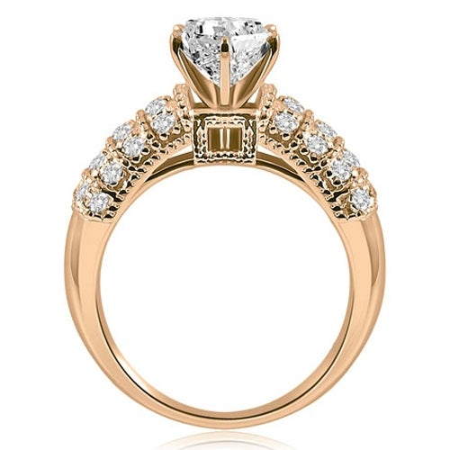 1.40 cttw. 14K Rose Gold Antique Style Round Cut Diamond Engagement Ring