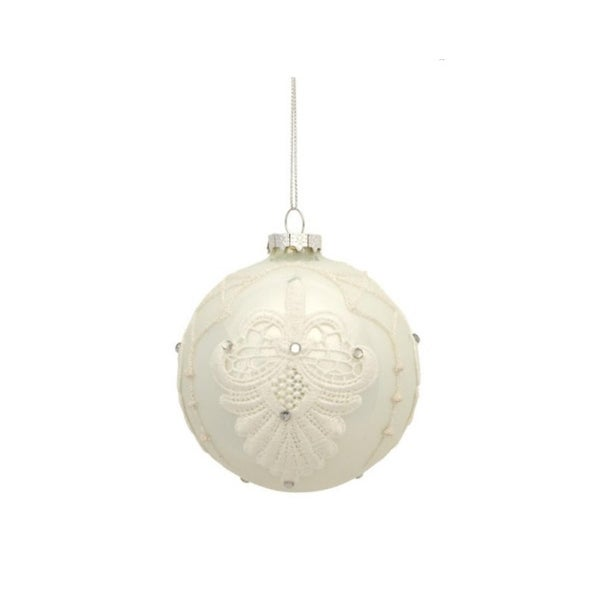 """4"""" Shiny White Blooming Fleur de Lis Lace Decal Glass Ball Christmas Ornament"""