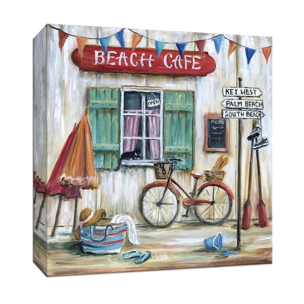 "PTM Images 9-147006 PTM Canvas Collection 12"" x 12"" - ""Beach Cafe"" Giclee Cafes & Restaurants Art Print on Canvas"