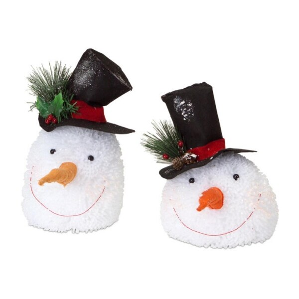 """Pack of 2 Glittered Snowman Head 2-Piece Sets of Decorative Christmas Table Toppers 12"""""""