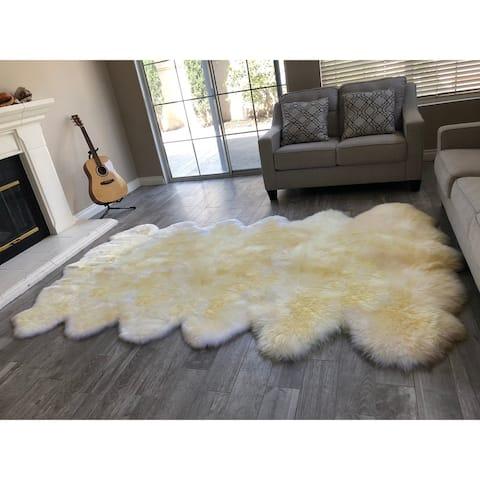 "Dynasty 12-Pelt Luxury Long Wool Sheepskin Light Beige Shag Rug - 5'5"" x 9'2"""
