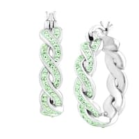 Crystaluxe Braided Hoop Earring with Swarovski Crystals in Sterling Silver - Green