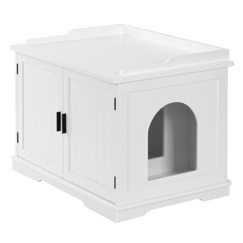 FCH Double Door Cat Litter Box Cat House White/Coffee