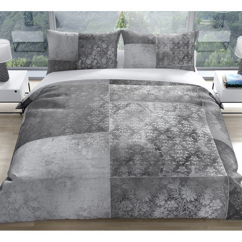 ECLECTIC BOHEMIAN PATCHWORK LIGHT GREY Duvet Cover by Kavka Designs