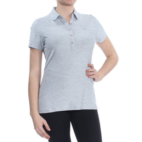 UNDER ARMOUR Womens Gray Polo Short Sleeve Collared Top Size: M