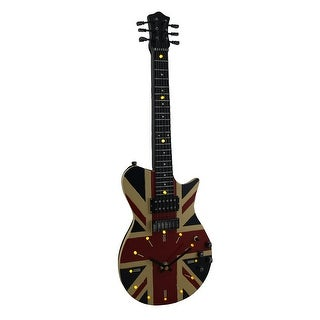 Stringing Time Union Jack British Flag 16 LED Electric Guitar Wall Clock 21 In. - 21.5 X 7.25 X 2 inches