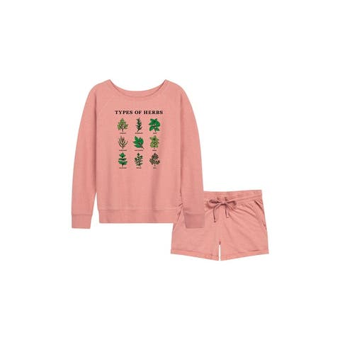 Types Of Herbs - Women's French Terry Shorts Set - Desert Pink