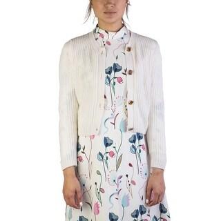 Miu Miu Women's Cashmere Jewel Buttoned Cardigan White
