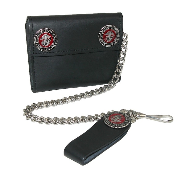 CTM® Men's Leather Chain Wallet with Marine Decals - One size