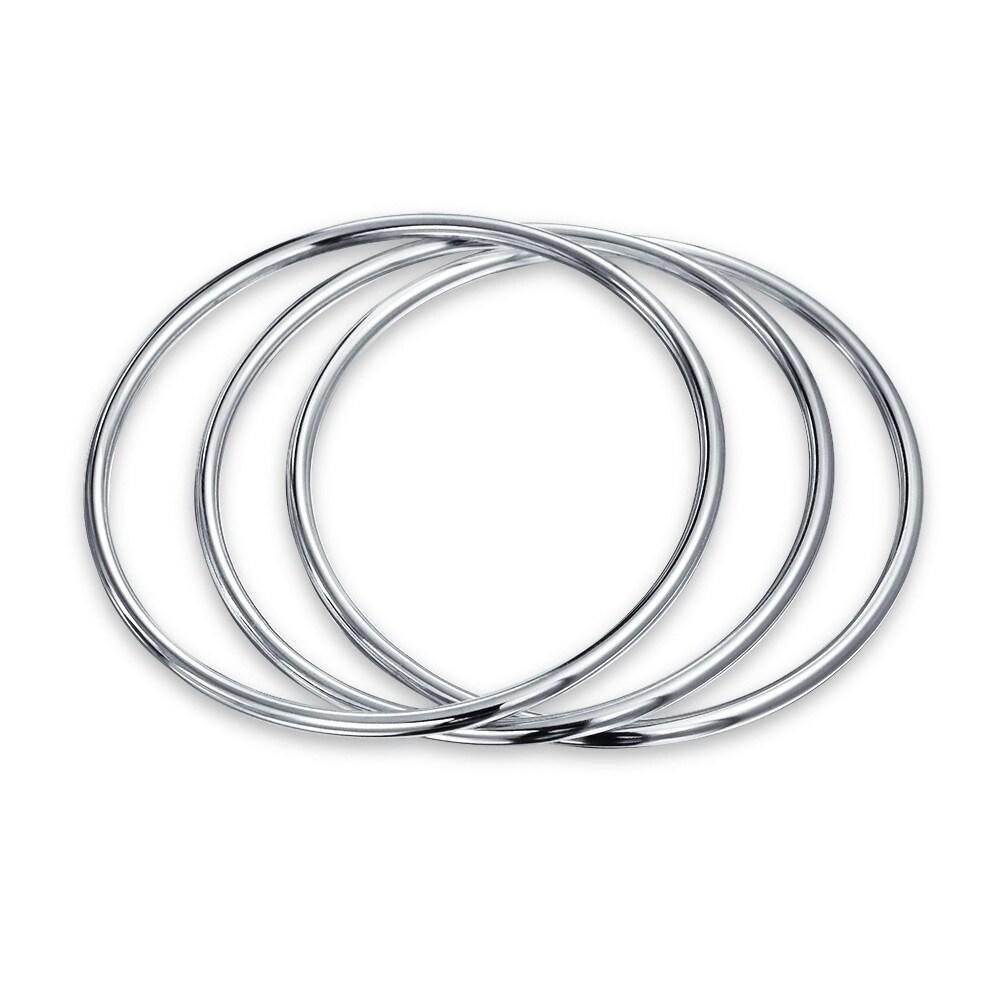 Bangle Infinity High Polish Bracelet Simple Plain .925 Sterling Silver