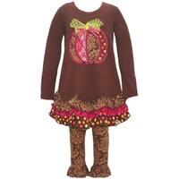 Bonnie Jean Little Girls Brown Pumpkin Applique  Fall 2 Pc Legging Set