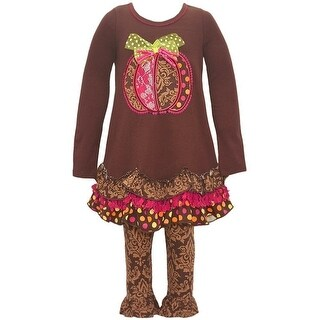 Bonnie Jean Little Girls Brown Pumpkin Applique Fall 2 Pc Legging Set (5 options available)