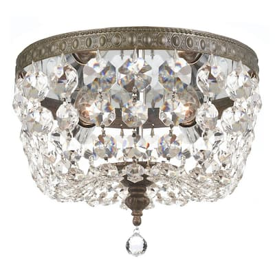 Traditional 2-light Bronze and Crystal Flush-mount Light Fixture