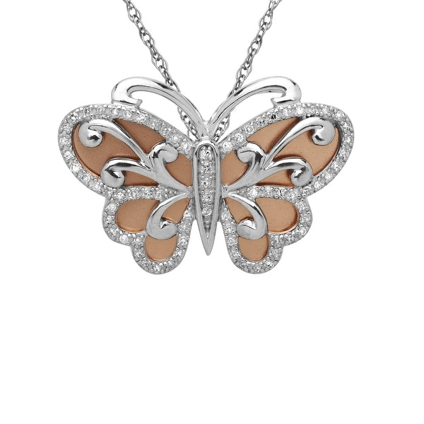 1/4 ct Diamond Butterfly Pendant in Sterling Silver & 14K Rose Gold