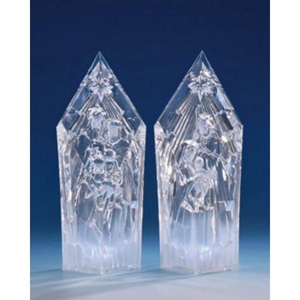 """Pack of 2 Icy Crystal Illuminated Religious Nativity Set Figurines 9.5"""" - CLEAR"""