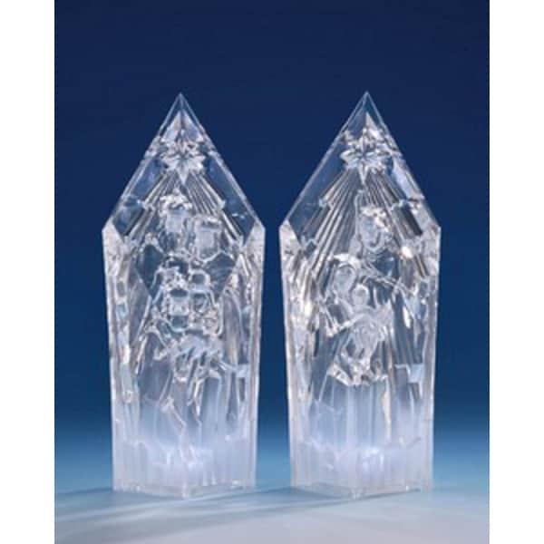 "Pack of 2 Icy Crystal Illuminated Religious Nativity Set Figurines 9.5"""