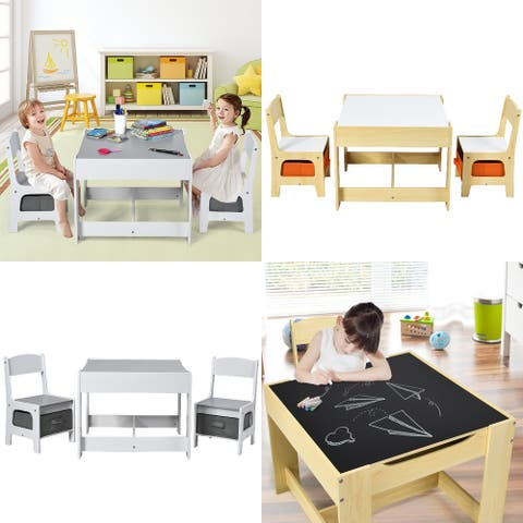 Costway Kids Table Chairs Set With Storage Boxes Blackboard Whiteboard
