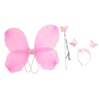 Unique Bargains Girls Butterfly Fairy Angel Wings Wand Boppers Set Party Fancy Dress Pink