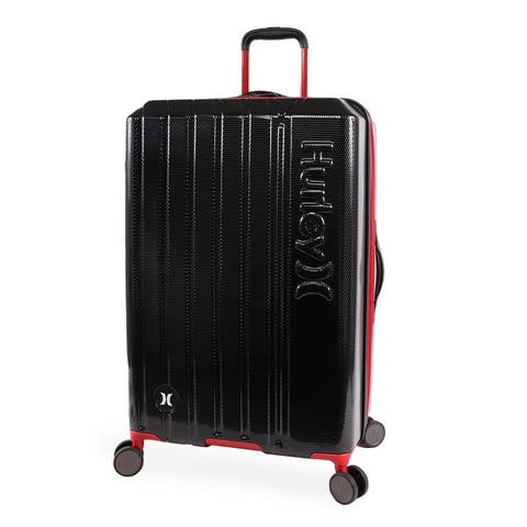 Hurley Swiper 29-inch Check in Hardside Spinner Suitcase - Black/Red